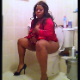 A big, black, South African girl takes a piss and a shit while sitting on a toilet. A couple of plops are heard. She wipes her ass, shows us the dirty wipes, then spreads her ass for the camera. Square format video. Over 6.5 minutes.